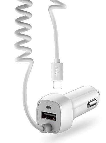 VAPIAO Kfz Auto Ladekabel Ladegerät mit USB Steckplatz und Kabel für Zigarettenanzünder kompatibel für iPhone 12,11,X, 8, iPhone 7, in weiß