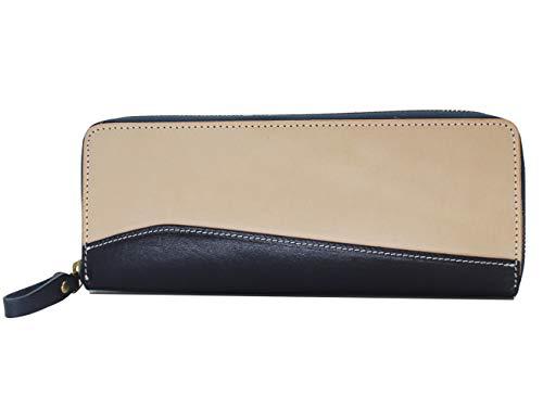 GOLDFFER ペンケース 革 おしゃれ かわいい シンプル スリム メンズ レディース 筆箱 (濃紺)