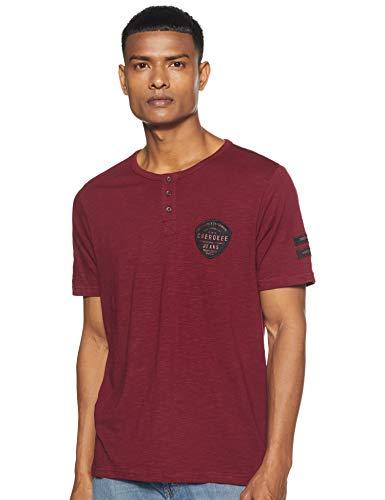 Cherokee Men's Solid Slim fit T-Shirt (282046719_Maroon_L_HS