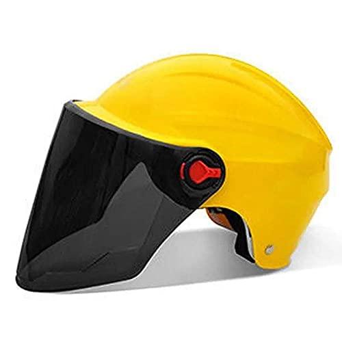 ZHANGYY VIIPOOCasco Medio De La Motocicleta, Casco De La Vespa De La Moto De La Vendimia con La Visera del Sol Casco Cáscara La Mitad del Choque para Los Hombres Ciclista Dotado Las Mujeres,Yellow