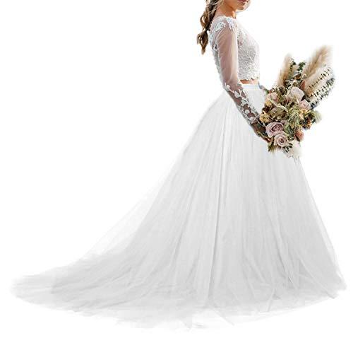 Falda larga de tul larga para mujer con tren largo para novia - Blanco - Medium