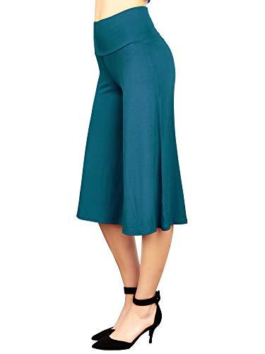 Made By Johnny Damen High Elastic Bund Wide Leg Palazzo Culotte Gaucho Capri Pants (S~5XL) - Blau - Mittel
