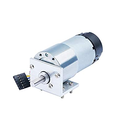 CQRobot Metal DC Geared Motor w/Encoder with Metal Mounting Bracket -12V/40RPM/80Kg.cm.