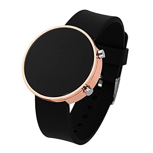 JSJJQAZ smart watch Vrouwen Horloges Mannen Sport Horloges Elektronische Klok Horloge Dames Digitaal Horloge (Kleur: Zwart rose goud)