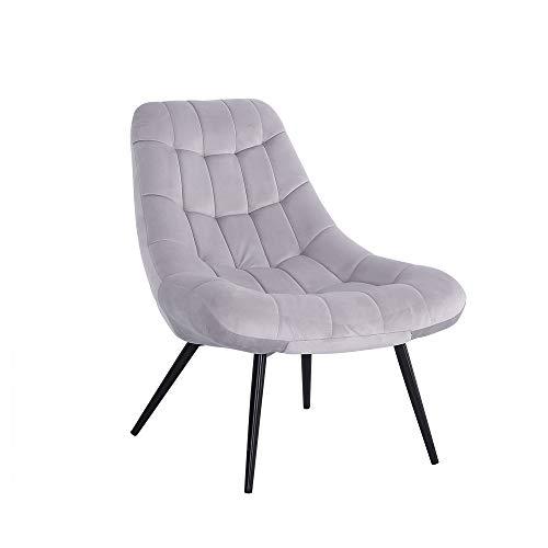 Panana Velvet Fabric Accent Button Tub Chair Armchair Lounge Sofa Living Bedroom Chair Leisure Retro Sofa Chair (Grey)