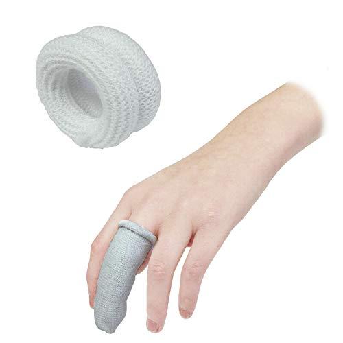TOOLSTAR 10 vendas para dedos, primeros auxilios tublares para dedos, 15 x 600 mm, para uso debajo de una cuna (paquete de 10 unidades), color blanco