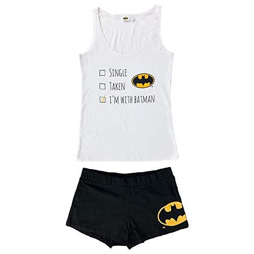Pijama corto para mujer DC Comics Batman de algodón Shorts y camiseta 4059 blanco S