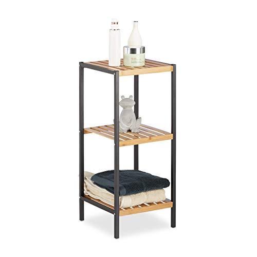 Relaxdays, natur Regal Bambus, universales Standregal, 3 Ablagen, Metall-Rahmen, quadratisch, HxBxT: 70 x 30 x 30 cm, 3 Ebenen