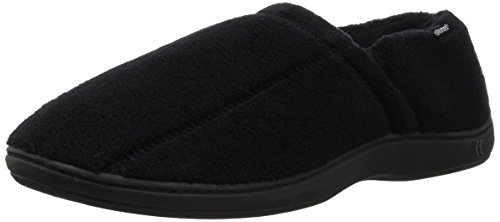 isotoner Men's Microterry Slip On Slipper, Black, Large / 9.5-10.5 US