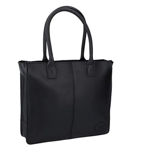 Gusti Leder 'Greta' Shopper Handtasche Ledertasche Henkeltasche mit Reißverschluss Schwarz Leder