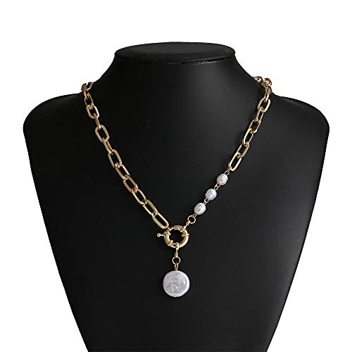 LKHJ Imitación Perla Colgante Colgante Colgante Coreano geométrico Irregular Perla de Metal Collar Collar Collar Mujeres
