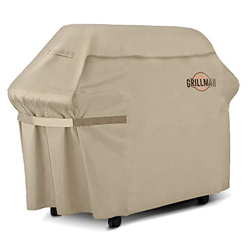 "Grillman Premium BBQ Grill Cover, Heavy-Duty Gas Grill Cover for Weber, Brinkmann, Char Broil etc. Rip-Proof, UV & Water-Resistant (60"" L x 28"" W x 44"" H, Tan) Covers Grill"