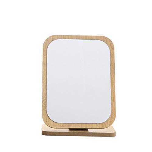 Tixiyu Espejo de maquillaje de escritorio retro, espejo de maquillaje cosmético plegable de madera, espejo de madera de maquillaje HD, espejo de escritorio de espejo de baño de viaje