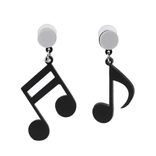 Xuebai Negro Nota Musical Mujeres niñas asimétrico acrílico Gota Pendientes Moda joyería Pendientes Negro
