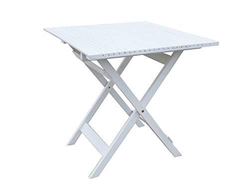 GRASEKAMP Qualität seit 1972 Balkontisch Toskana 70 x 70 cm Weiß Klapptisch Beistelltisch Gartentisch