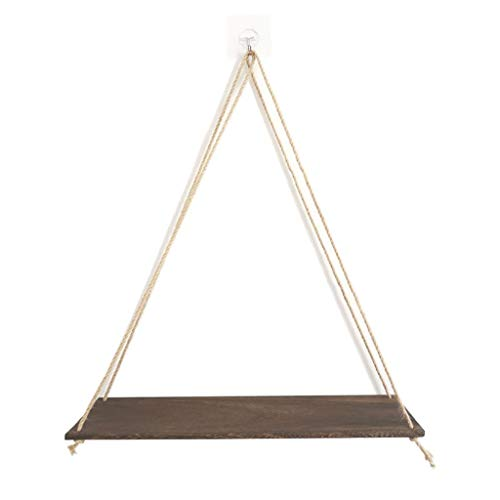 jieGorge Premium Wood Swing Hanging Rope Wall Mounted Floating Shelves – Plant Flower Pot, Tools & Home Improvement, for Christmas Day (BW)