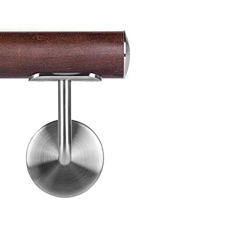 Corrimano in legno di wengé, diametro 42,4 mm, corrimano da parete 220 cm, 3 supporti leggermente curvi.