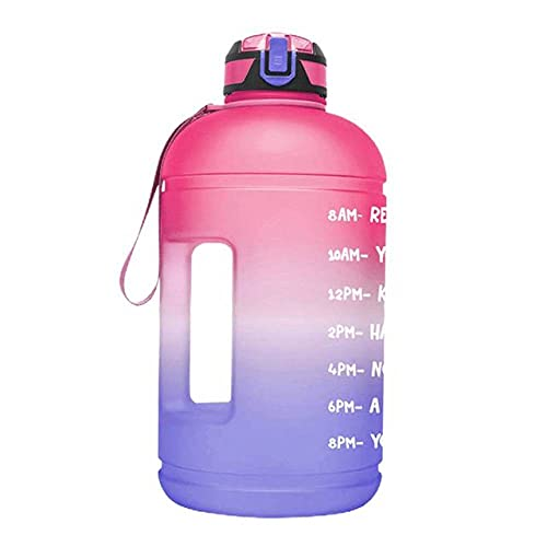 JINBAOYA-Portable half-gallon 2.6L sports water bottle with portable straw and time stamp, BPA-free and leak-proof Tritan, suitable for fitness, gym and outdoor sports,pink/Blue Gradient
