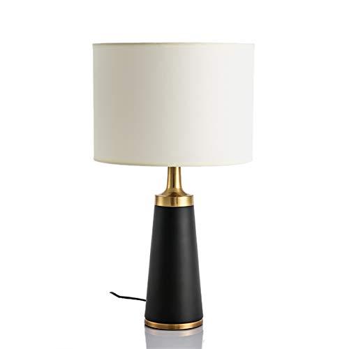 Dltmysh Lámpara de Mesa Dormitorio de Noche Artes Lujoso luz Una Sala de Estar de Escritorio de diseño de lámpara de Escritorio (Emitting Color : Button Switch, Lampshade Color : K Black White)