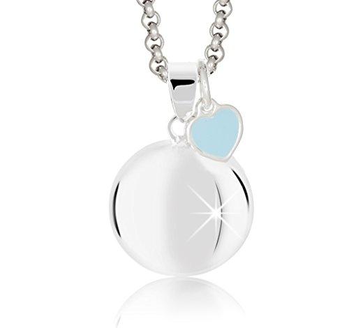 """Die """"Schwangerschaft Klangkugel"""" M'AMI® mit Kette Stahl und einem kleinen Herzen emailliertem blau ilber"""
