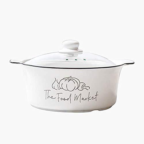 HPKC Keramik-Auflauf Kochgeschirr Kochgeschirr Dutch Oven Wärmespeicherung und Wärmeschutz, leicht zu reinigen, Multi-Purpose in einem Topf, Kapazität 3L