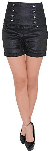 Corsagen Hot Pants Jeans Hochschnitt Shorts Capri Hotpants Kurze Hose Schwarz 36