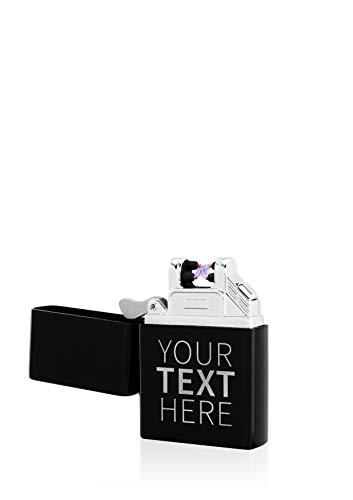 TESLA Lighter T03 Lichtbogen Feuerzeug Elektronisch, mit Wunsch-Gravur, personalisiert als Geschenk zu Weihnachten, Geburtstag etc. wiederaufladbar per USB inkl. Geschenkverpackung Schwarz