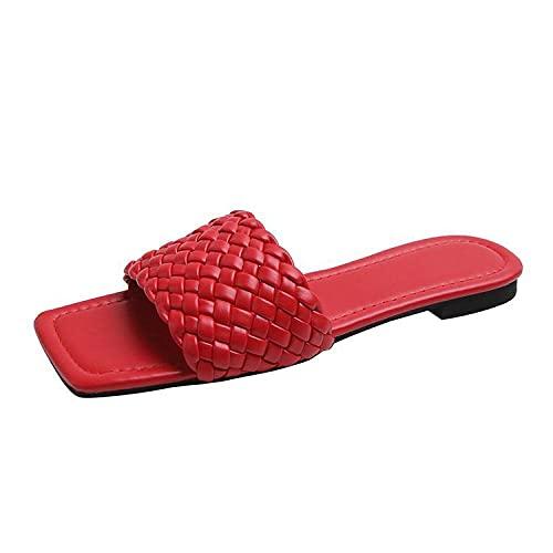 ypyrhh Sandalias con Punta Abierta Mujer,Cómodo Arrastre Rojo Plano. Zapatillas de Ocio con Punta Abierta-Rojo_38,Sandalias de Playa Plataforma Zapatilla