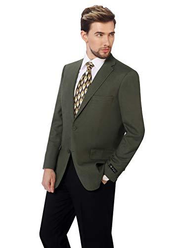 P&L Men's Classic Fit Two-Button Blazer Suit Separate Jacket 46R, Olive
