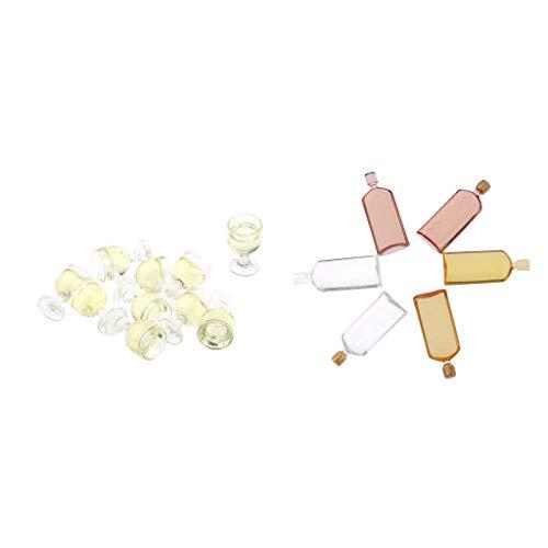 perfeclan Adorable 16 Piezas Cerveza Botellas de Vino Y Kit de Gafas para 1:12 Dollhouse Kitchen Bar Adornos Los Niños Pretenden Jugar Juguete