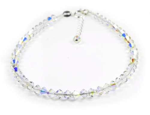 Dent Designs Anklet Sterling Silver with Small Crystal AB Crystals 9'