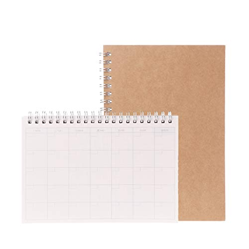 PHILSP Planner Book Monthly Weekly Daily Agenda Schedule Blank Diary DIY Study Notebook Brown M