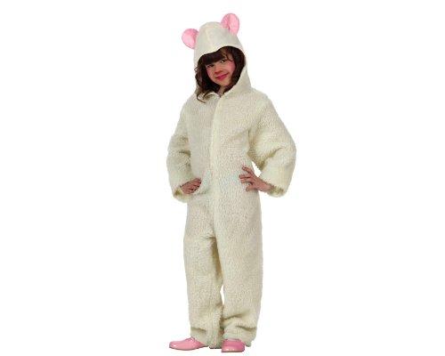 Atosa-12741 Atosa-12741-Disfraz Oveja niña Infantil-Talla Navidad, Color Blanco, 5 a 6 años (12741)