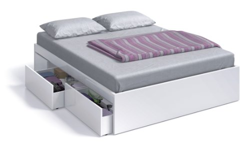 Due-home Cama 150x190 con 4 cajones Acabado Blanco Brillo