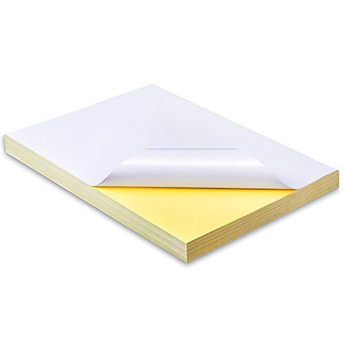 A4 Etiqueta Adhesiva Blanca Pegatina,210 x 297 mm,50 Hojas de Papel de impresión de Calidad A4 Blanco Mate Autoadhesivo/Parte Trasera Adhesiva,compatibles con impresoras de inyección de tinta y láser