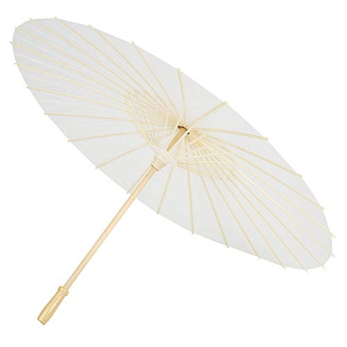 Zerodis Papier Sonnenschirm Chinesischen/Japanischen Papier Regenschirm Fotografie Kunst Zubehör Party Dekoration Weiß