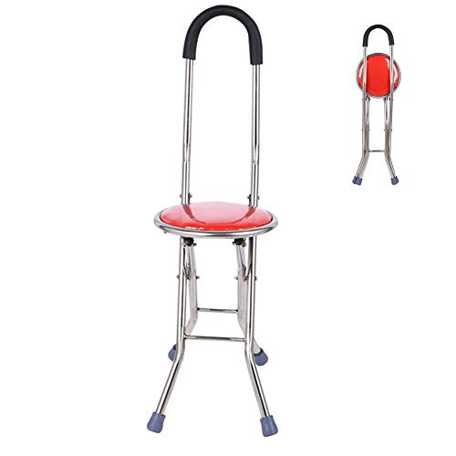 LXYZ Taburete Plegable con Asiento para bastón, Taburete de caña con Asiento Antideslizante portátil de Cuatro pies, Apto para Personas Mayores, Rojo
