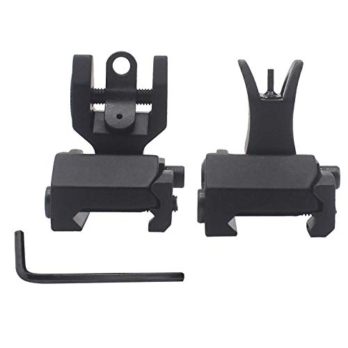 AWOTAC Tactical Rapid Transition Front and Rear Flip Up Backup HK Iron Sights Fit Picatinny Weaver Rails