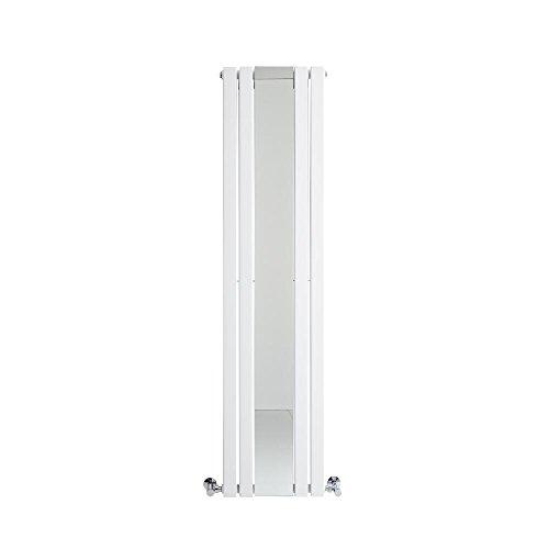 Hudson Reed Heizkörper Sloane - Vertikaler Design-Heizkörper aus Stahl in Weiß - 1600 x 420 mm - Doppellagig mit Spiegel