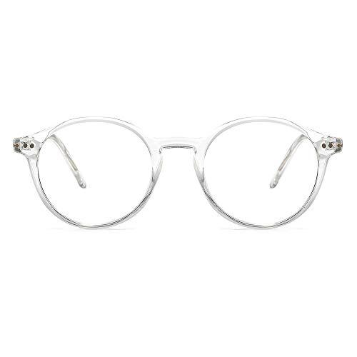 O-Q CLUB Gafas de Lectura Anti-Deslumbramiento de Luz Azul Gafas de Ordenador Redondas Retro que Reducen la Fatiga Ocular Unisex (Transparente, 0.0)