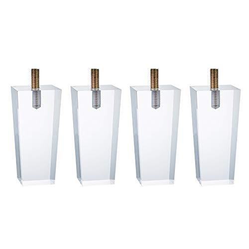 Möbelbeine × 4, Acrylmöbel Tischbeine, transparente Kristall Sofa Bodenkissen können 200 kg / 4 Stück tragen/A / 8cm deckungsgleich 215cm