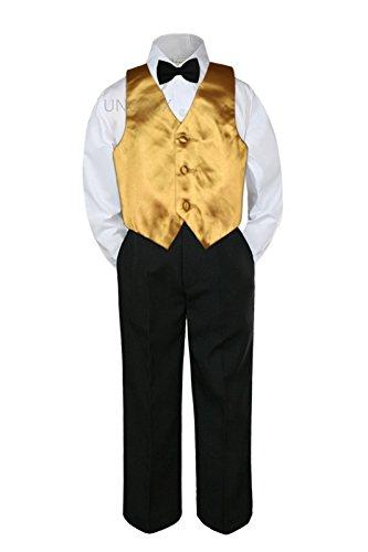 4pc Baby Toddler Kid Boys Gold Vest Black Pants Bow Tie Suits Set (4T)