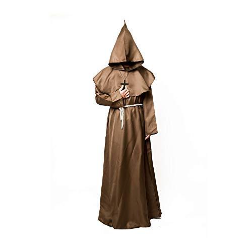 Friar Medieval Monk Robe Priest Robe -Renaissance Hooded Priest Robe Costume Halloween Cosplay Costume,Khaki-L