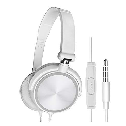 BOJSQ Gaming-Headset Kabel-Kopfhörer mit Mikrofon über Gaming-Ohr-Headsets Bass HiFi-Musik-Stereo-Kopfhörer for Sony for Xiaomi for Huawei PC Xbox PS Wii Angenehm zu tragen (Color : White)