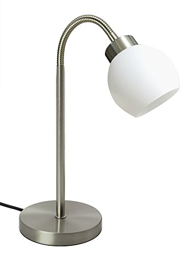 TRANGO Lampada da scrivania a LED in nichel opaco con paralume in vetro satinato, lampada da tavolo & da comodino TG2017-00'New Jersey' incl. 1x modulo LED da 4,5 watt illuminante 3000K bianco caldo