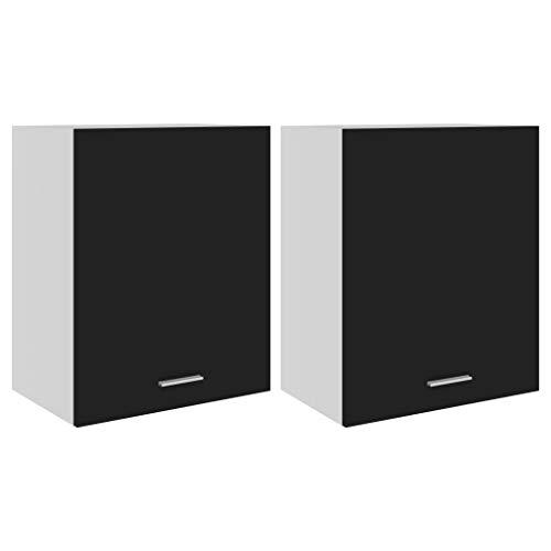 vidaXL 2X Armarios de Cocina Muebles Mobiliario Duradero Mesa de Trabajo Almacenamiento Cuencos Platos Ollas Alacena de Aglomerado Negro 50x31x60 cm