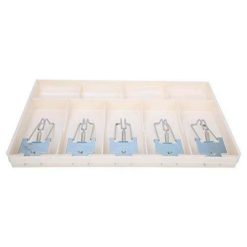 Bandeja de efectivo de 5 rejillas, caja registradora de cinco rejillas, caja de cajero con clip de metal de cinco rejillas, caja de almacenamiento de divisas para cajones,(white)