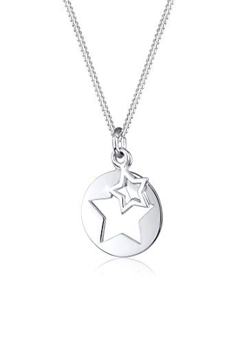 Elli Halskette Sterne Astro Münze Cut Out 925 Sterling Silber