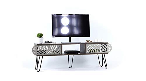 Vivense Illia Maxi - Soporte de TV (150 x 48 cm, parte superior de nogal y patas metálicas), color negro