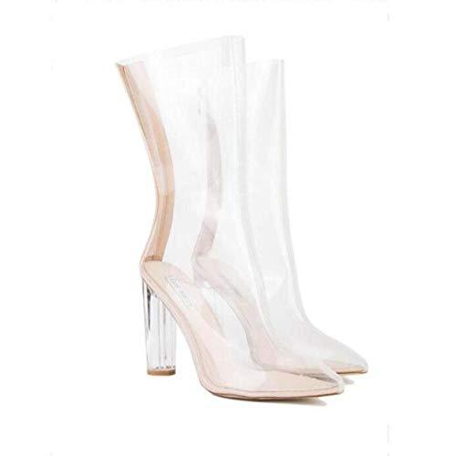 YWNC Crystal Transparent Heel Echtes Leder Rough High Heel Damen Sandalen Wasserdicht Rutschfeste Verschleißfeste Größe 33 40-48 2018 Sommer , white , 47